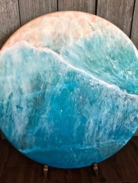 """Resin Pour Painting- """"Sub Aqua"""" – Coral Reef below translucent tropical waters with foaming waves. 18-inch Circle on 1″ Pinewood. Hangable."""