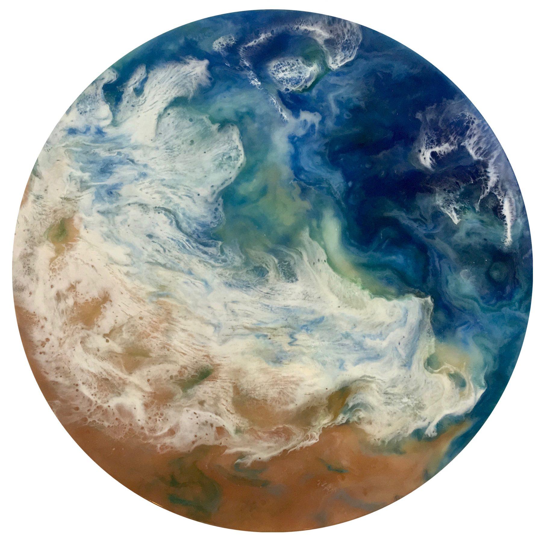 Tidal Plunge- Resin poured painting circle.