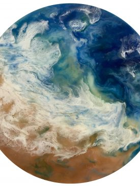 Tidal Plunge: Resin Poured Painting on 18″ Solid Pinewood Circle