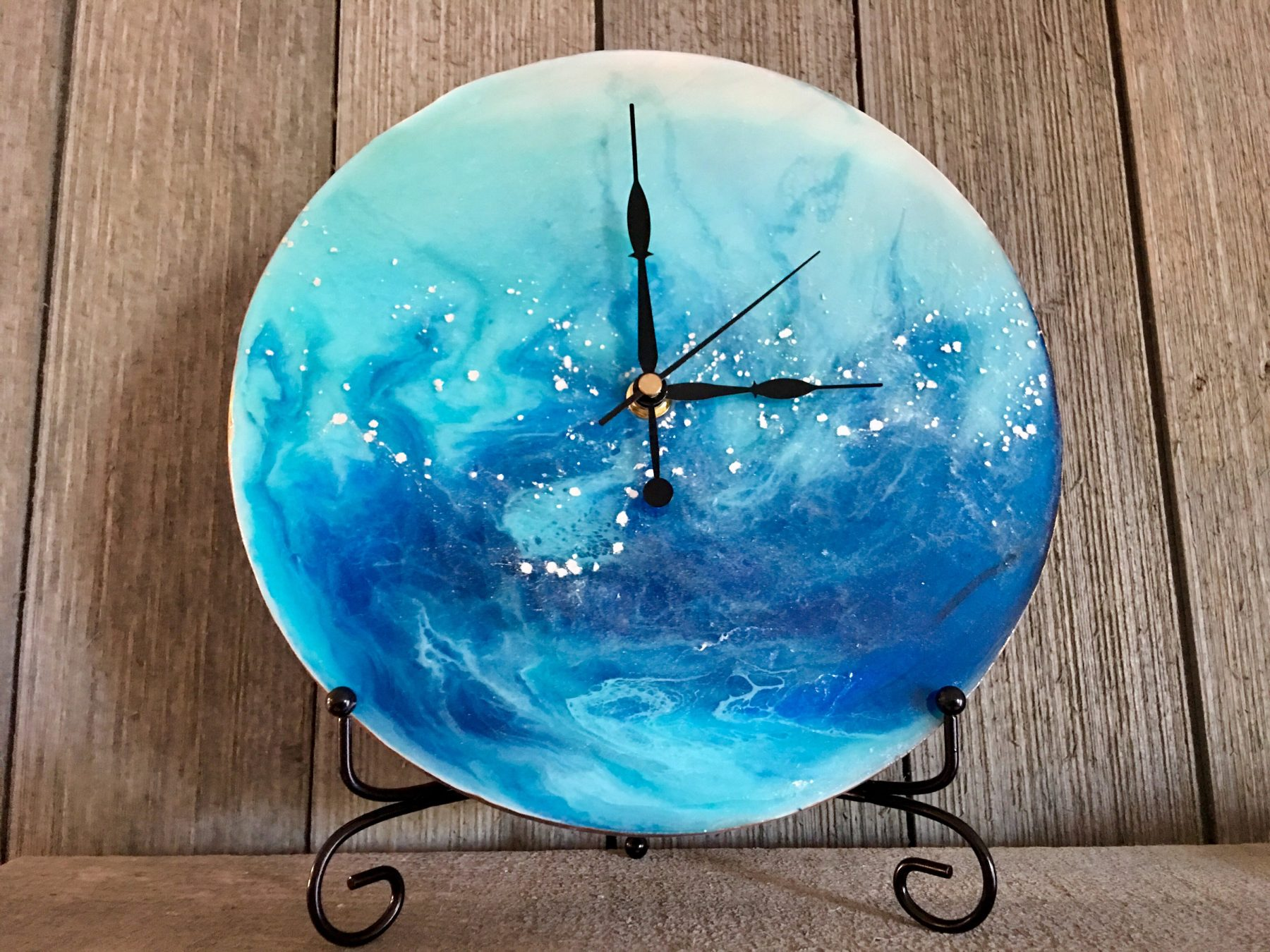 resin poured painting clock