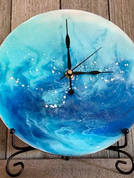 """Alastria"" Resin Pour Painting & Clock, Perfect Gift for Ocean Lovers Home Decor Wall Art 10 inch."