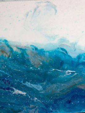 Longshore Drift- 12″x36″ Resin Painting of Abstract Oceans Adrift