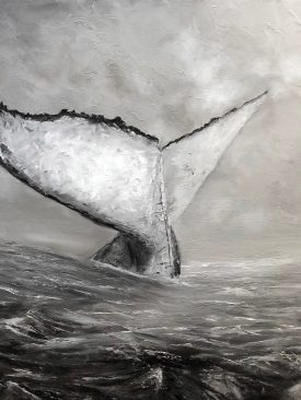 Whale Tail Noir (Black and White Monochrome) Original Oil Painting of Stormy Ocean and Humpback Whale