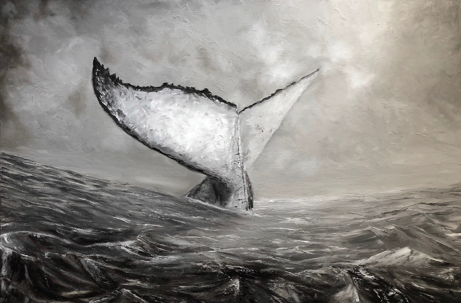 whale painting monochrome oil ocean tail paint canvas noir humpback stormy painted wrapped grade professional