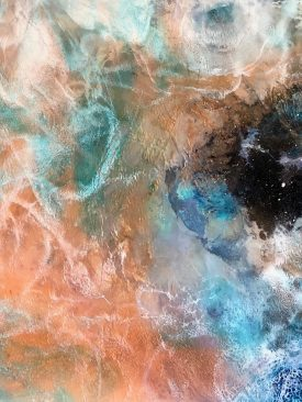 """Sarcoline"" 4-Layer Resin Poured & Blow Torched Painting. Contemporary Modern Art. Nebula Inspired."