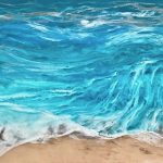 """Beach Bliss"" (Resin is like a liquid glass). Modern Art. Abstract Blow Torched Painting of Ocean Waves and Beach"