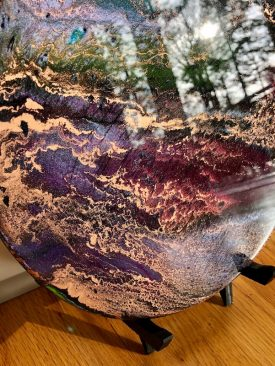"""Exploration"" Planet Inspired Art for Desk, Table, Counter. Wood Display Stand Included. Pour Painting. Circle Art."