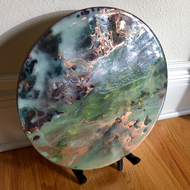 Round Resin Painting Planetary Vista Planet Inspired Art For Desk Table Counter Wood Display Stand Included Pour Painting Circle Art