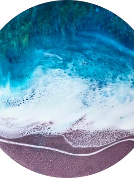 """Lavender Sands"" Planet Inspired Art for Desk, Table, Counter. Wood Display Stand Included. Pour Painting. Circle Art."