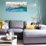 Tumultuous Beauty- Ocean with Stormy Waves and Clouds. Abstract Wall Art Decor. Multilayer Resin Pour