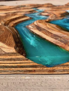 Embankments- A Resin River Carving / Painting / Sculpture Wall Art. Sculpted stained wood w/ an epoxy resin pour painting river & glaciers