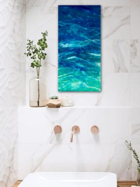 Purest Sea- Resin Painting. Ocean Waves. Pour painting on birch poplar wood panel. Epoxy Art.