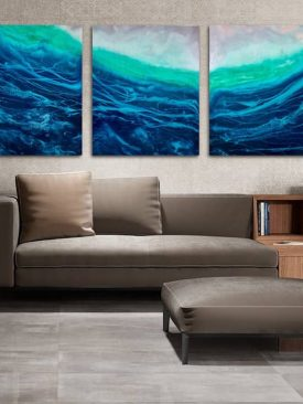 Captive- Huge Triptych Resin Painting. Ocean Waves. Pour painting on 3 cradled birch poplar wood panels. Epoxy Art. Large Art. 5+ ft across