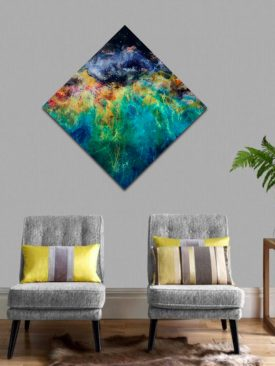 Aloft, Nebula Diamond Shaped Resin Painting