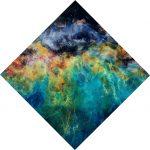 Aloft, Nebula Diamond Shaped Resin Painting