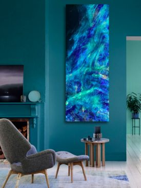 CADENCE OF DESCENT- Resin pour painting by Tiffani Buteau. Large: 18″ x 48″. Oceanic / Nebula Abstract Painting. Epoxy Resin on Birchwood